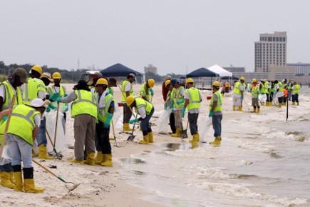 Environ 300contracteurs employés par BP nettoient les plages... (Photo: AP)