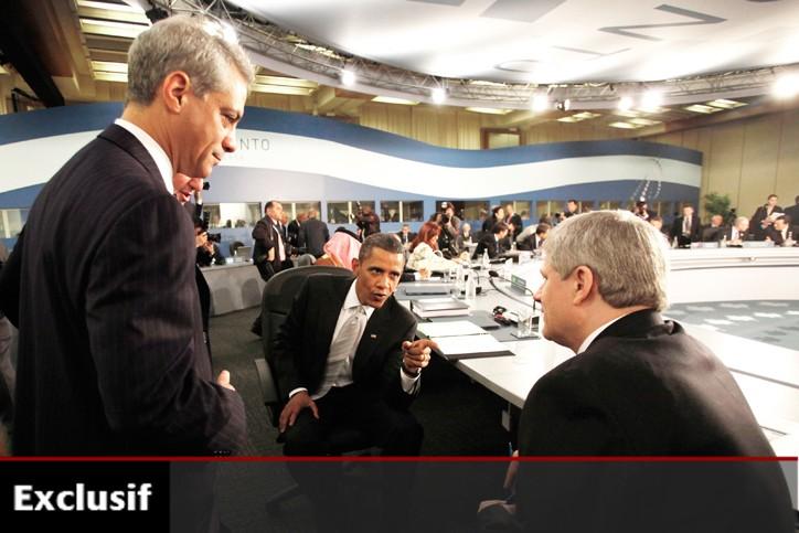 Le président américain Barack Obama (au centre) et... (Photo: Reuters)