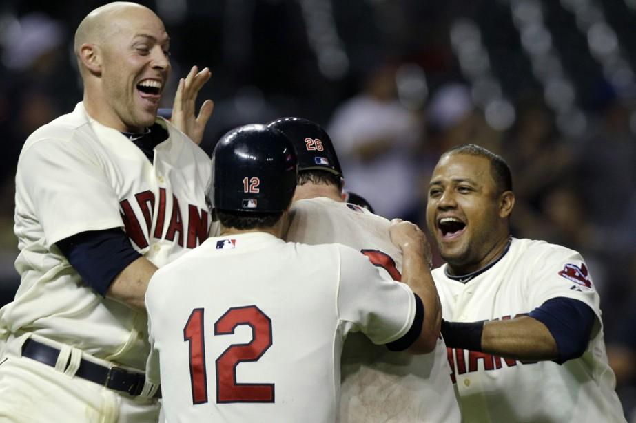 Les Indians de Cleveland célèbrent leur victoire.... (Photo: AP)