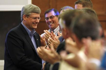Stephen Harper a vanté le bilan économique du... (Photo: Reuters)