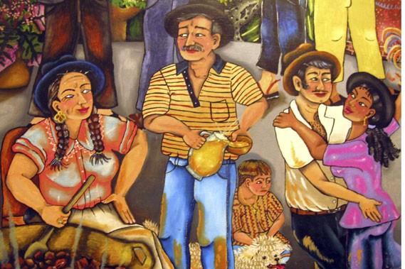 Repas de cambas boliviens, toile de Carmen Villazón,... (Photo: Éric Clément, La Presse)