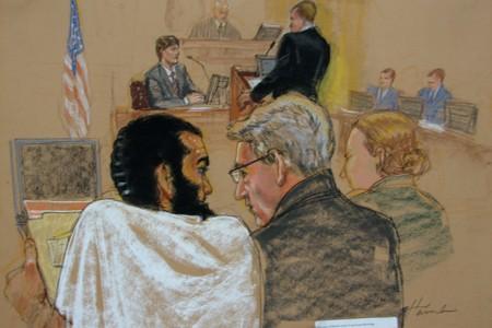 Un croquis d'Omar Khadr réalisé lors des audiences... (Photo: PC)