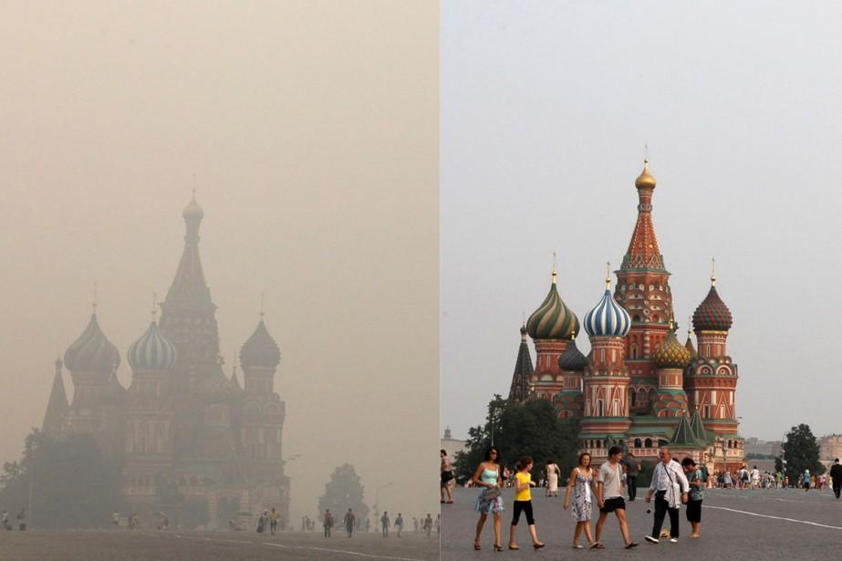 Moscou avec et sans smog.... (Photos: Reuters)