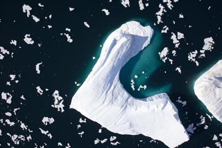 Une vue aérienne du glacier Petermann, situé au... (Photo: Archives AFP)