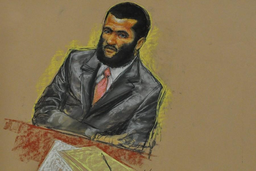 Omar Khadr a fait son entrée dans la... (Croquis: Janet Hamlin, PC)