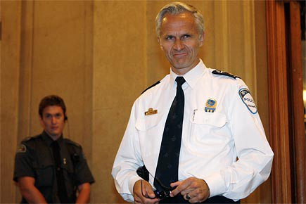 Le nouveau chef du SPVM, Marc Parent, s'apprête... (Photo: Martin Chamberland, La Presse)