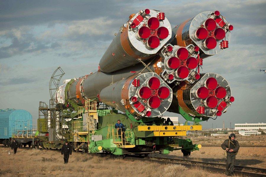 Un vaisseau russe Soyouz au cosmodrome de Baïkonour.... (Photo: Archives AP)