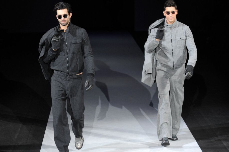 «Remix en gris» chez Giorgio Armani... (Photo: AFP)