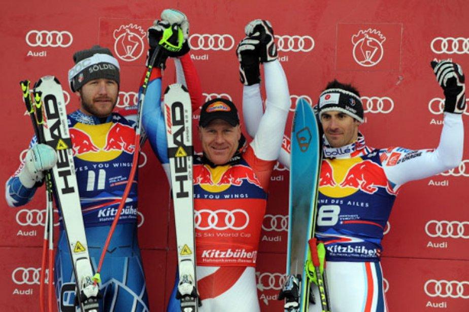 De gauche à droite sur le podium, l'Américain... (Photo AP)