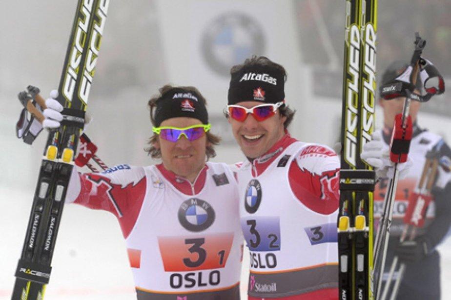 Devon Kershaw et Alex Harvey, victorieux mercredi aux... (Photo: Odd Andersen, AFP)