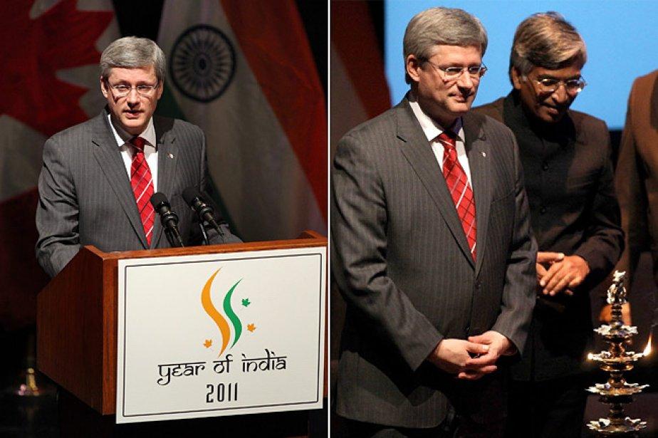 Harper a brièvement parlé lors de l'événement, après... (Photo: PC)