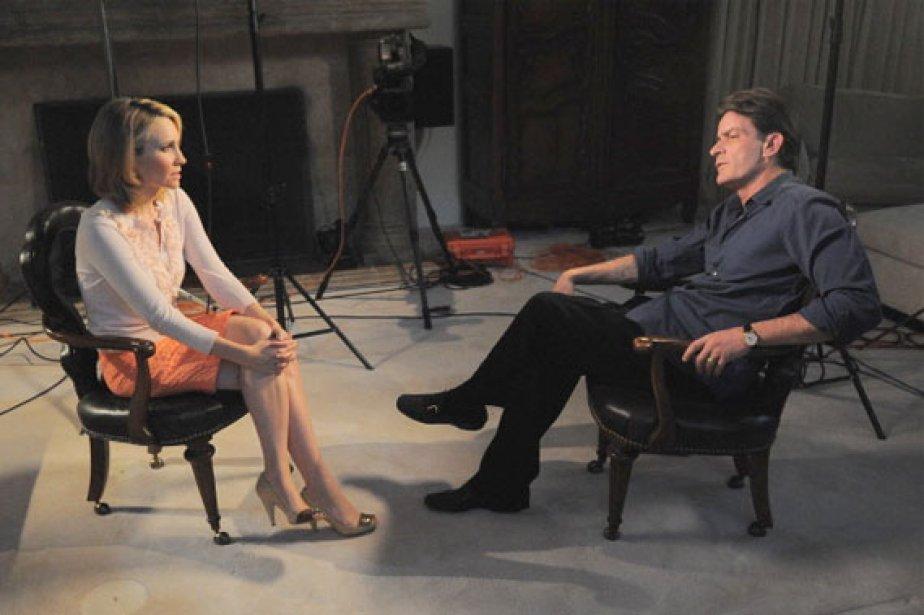 Charlie Sheen en entrevue avec Andrea Canning dans... (Photo: AP/ABC News)