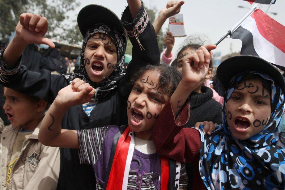Des enfants participent à une manifestation mercredi, à... (Photo: AFP)