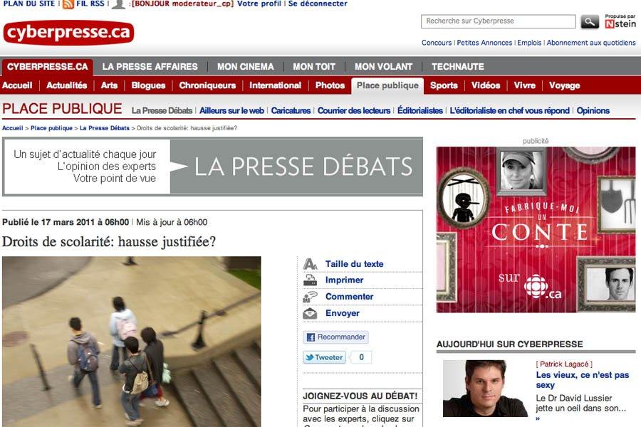 La Presse Débats! Un lieu unique pour la rencontre de toutes les idées!