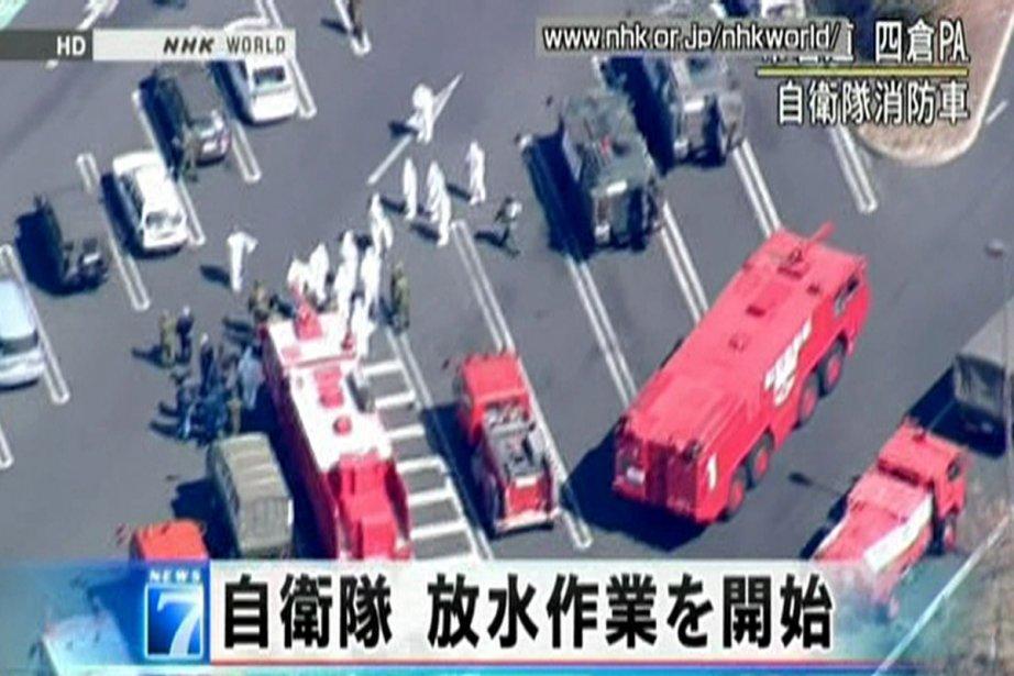 Cette image, captée sur la télévision publique japonaise... (Photo: Reuters)