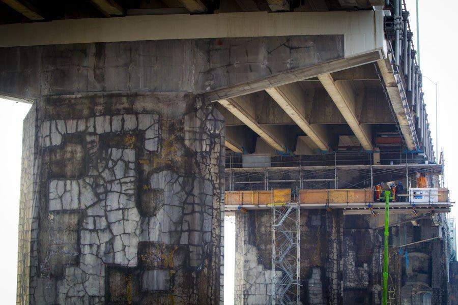 Les piliers de la section du pont Champlain... (Photo: André Pichette, La Presse)