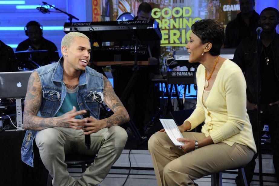 Chris Brown sur le plateau de Good Morning... (Photo: AP)