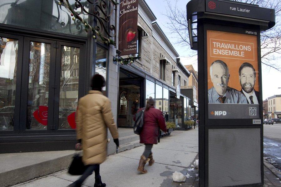 Le NPD a acheté des dizaines de panneaux... (Photo: Robert Skinner, La Presse)
