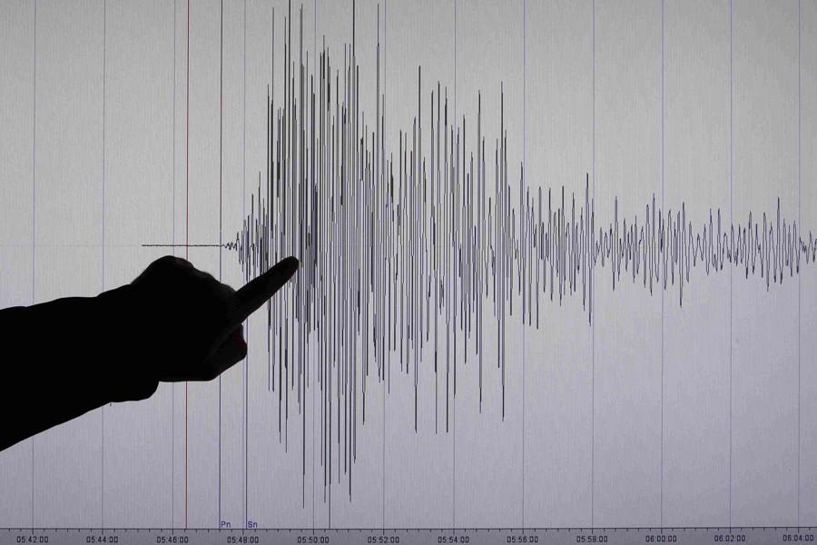 Un sismologue allemand pointe un graphique montrant la... (PHOTO ARCHIVES REUTERS)