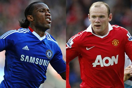 Didier Drogba, de Chelsea, et Wayne Rooney, de... (Photo: AFP)