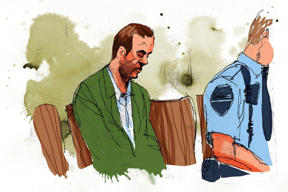 Guy Turcotte assis dans le box des accusés.... (Illustration: André Rivest, La Presse)