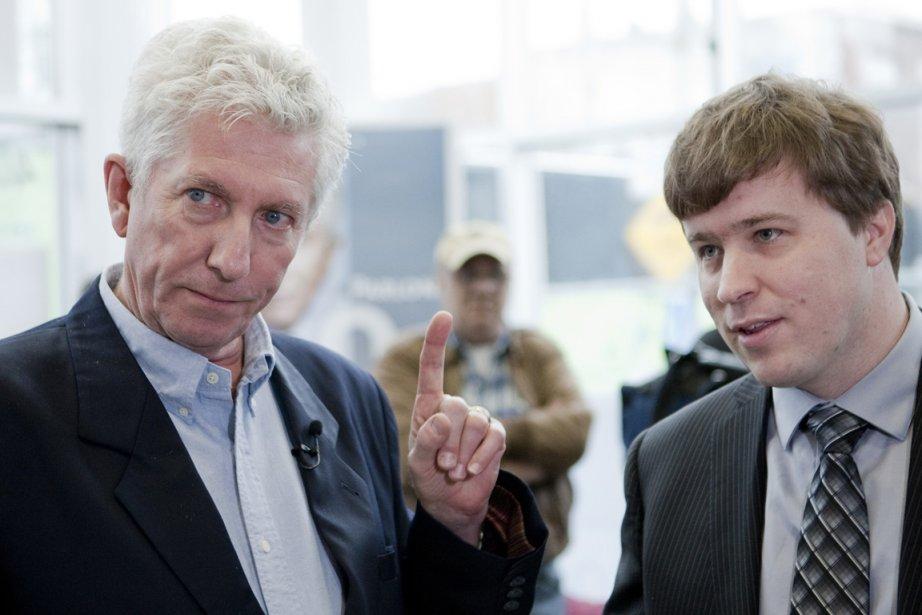 Gilles Duceppe et Thierry St-Cyr, le 23 avril... (Photo: Marco Campanozzi, La Presse)