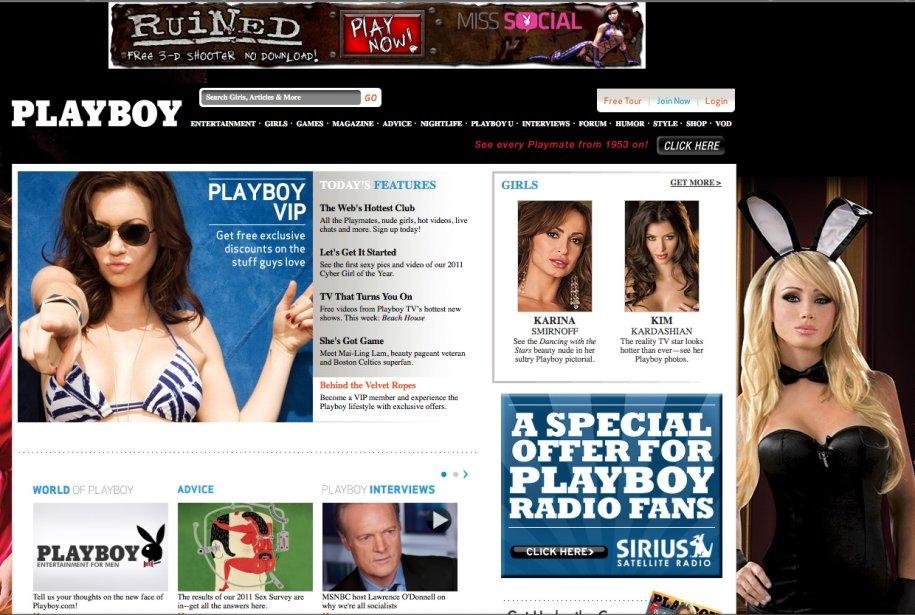 Le site internet de Playboy...