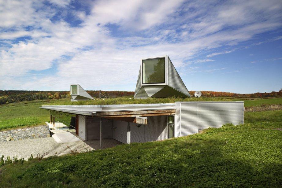 La structure des deux puits de lumière verticaux,... (Photo: Tom Arban)
