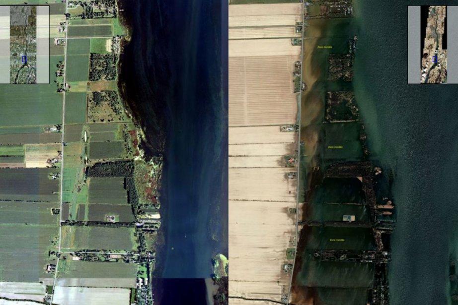 À gauche: photo aérienne datant de juin 2009.... (Photo: Gouvernement du Québec/Geoeye)