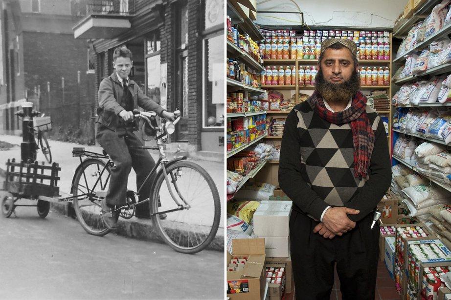 À gauche, ce jeune livreur à vélo était... (Photos fournies par le Centre d'Histoire de Montréal. Antonio Pierre De Almeida)