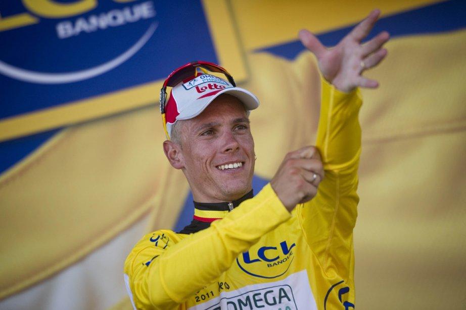 Le Belge Philippe Gilbert est le premier à... (Photo: Lionel Bonaventure, AFP)