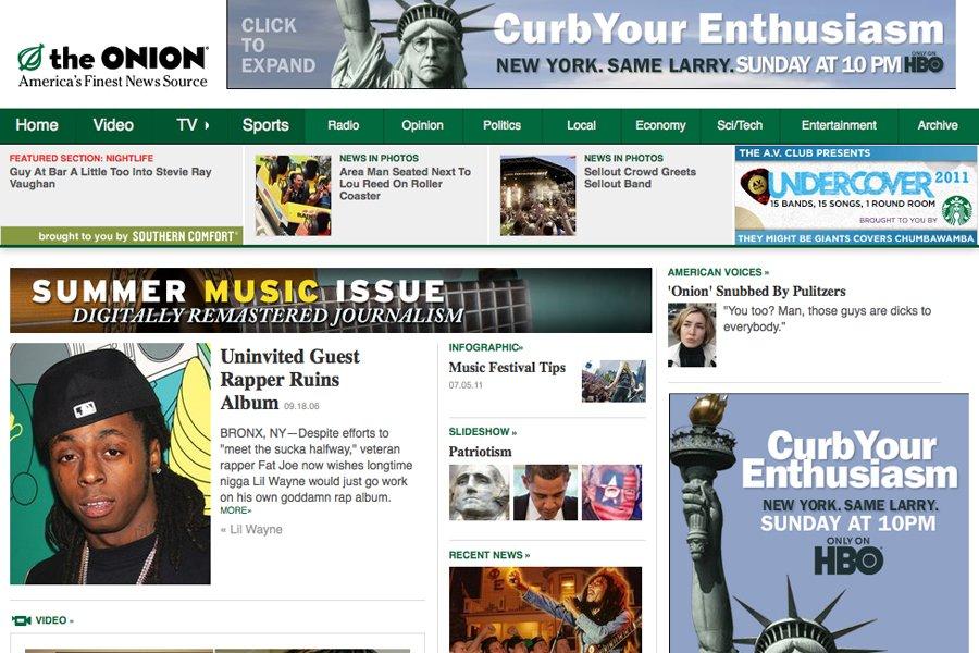 La page d'accueil du site internet The Onion....