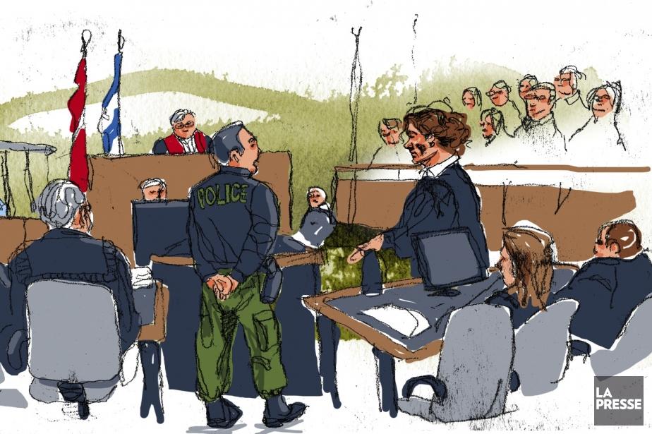 Une scène tirée du procès de Guy Turcotte,... (ILLUSTRATION ANDRÉ RIVEST, archives LA PRESSE)