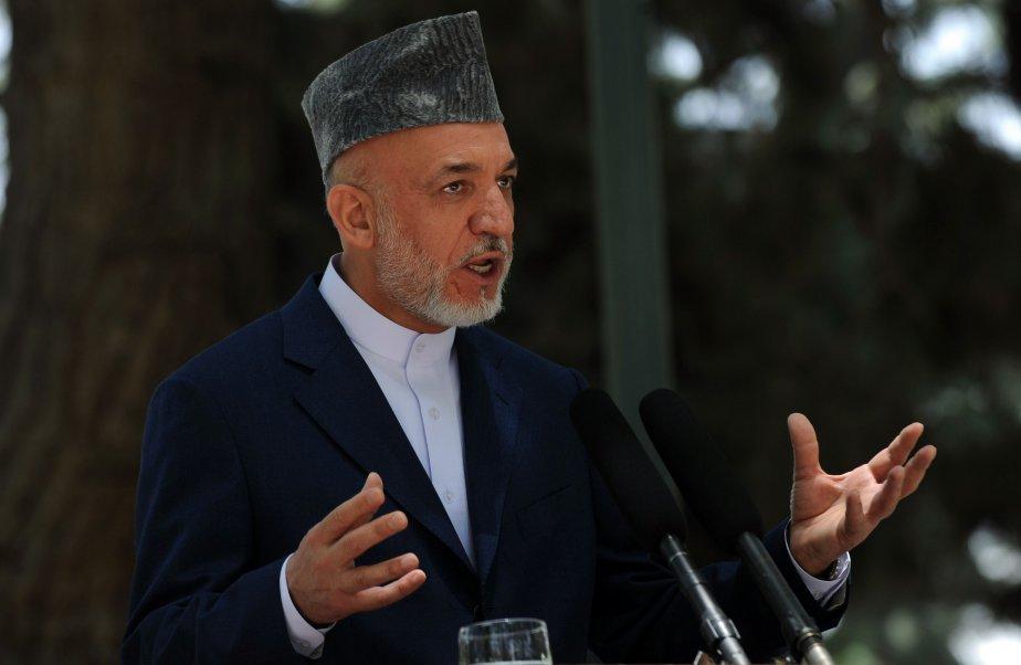 Hamid Karzai, président de l'Afghanistan... (Photo AFP)