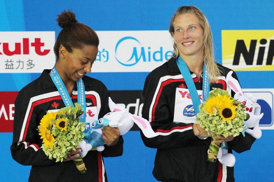 Jennifer Abel et Emilie Heymans... (Photo: AP)
