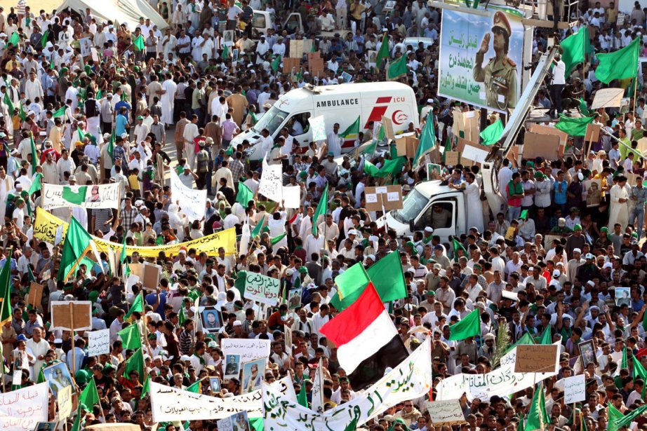 Un rassemblement de partisans pro-Kadhafi a eu lieu... (Photo: AFP)