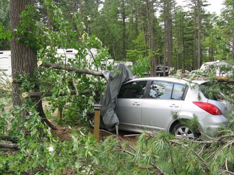 Le terrain de camping du Lac-Vert a été ravagé par les rafales, dimanche soir. De nombreuses voitures ont été lourdement endommagées. (Charles Thériault, LeDroit)