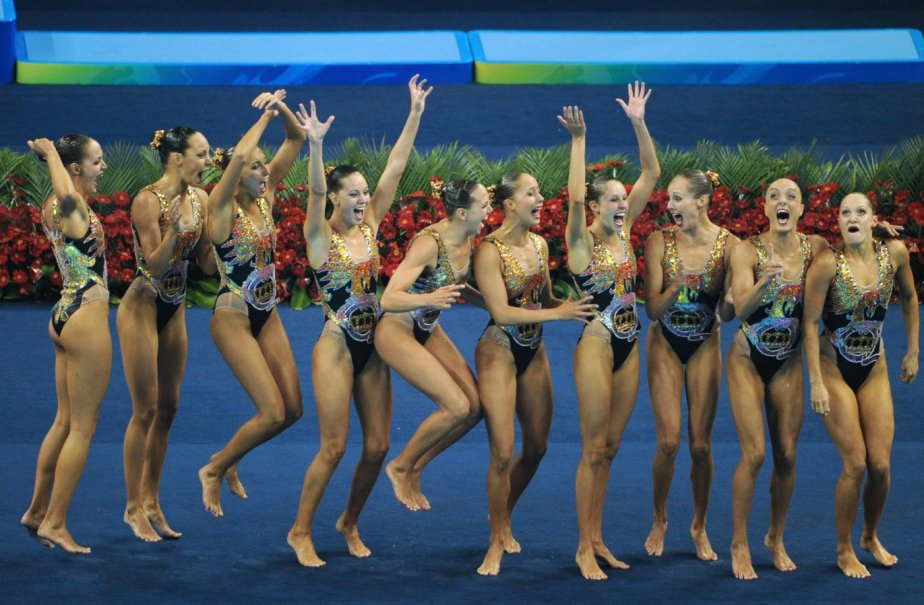 Les nageuses Élise Marcotte, Karine Thomas, Valerie Welsh,... (AFP)