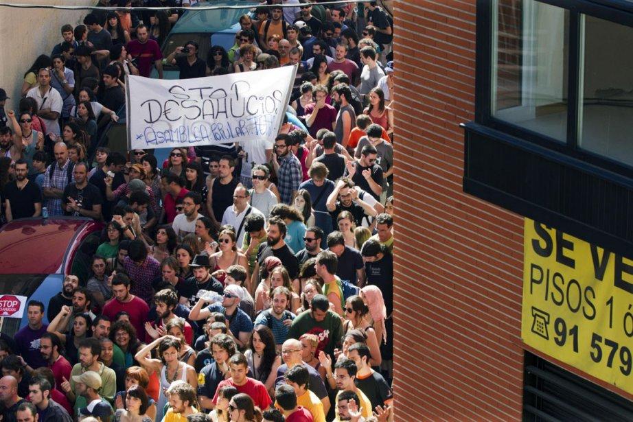 Dans l'ensemble de l'Espagne, le mouvement anti-expulsions des... (Photo: AP)