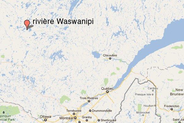 La rivière Waswanipi, près de Matagami, dans le... (maps.google.ca)