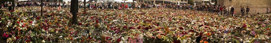 L'entrée de la cathédrale d'Oslo est couverte de fleurs et de messages déposés à l'attention des victimes. | 26 juillet 2011