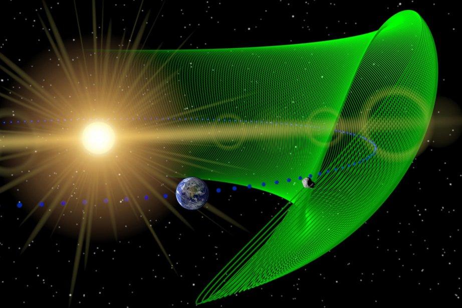 Cette illustration montre le petit astéroïde troyen (en... (Photo: AP/Nasa)