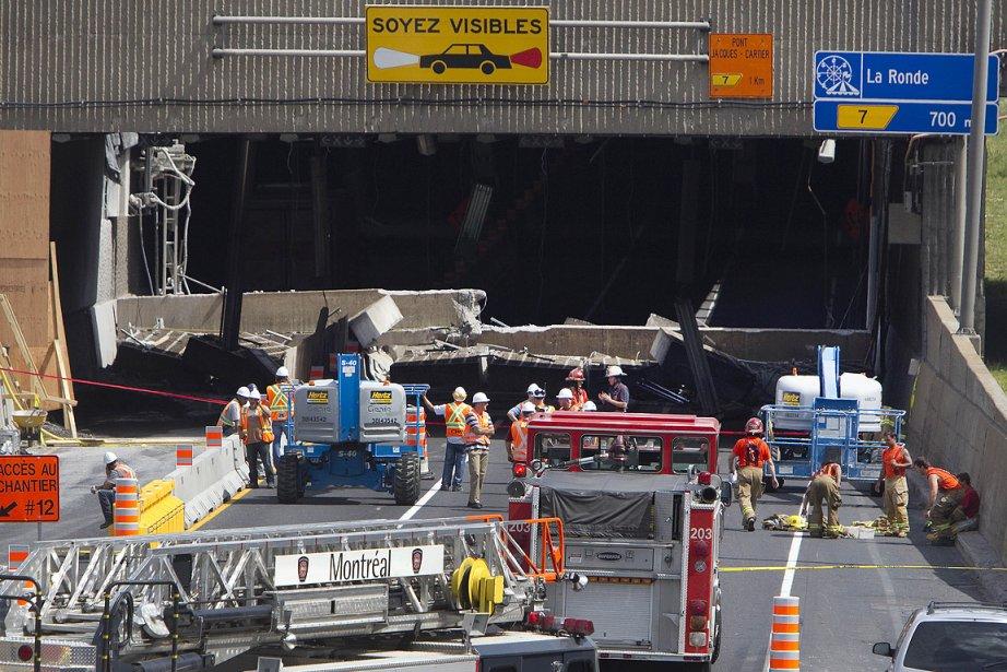 Une imposante structure de béton s'est écroulée dimanche... (Photo: Robert Skinner, La Presse)