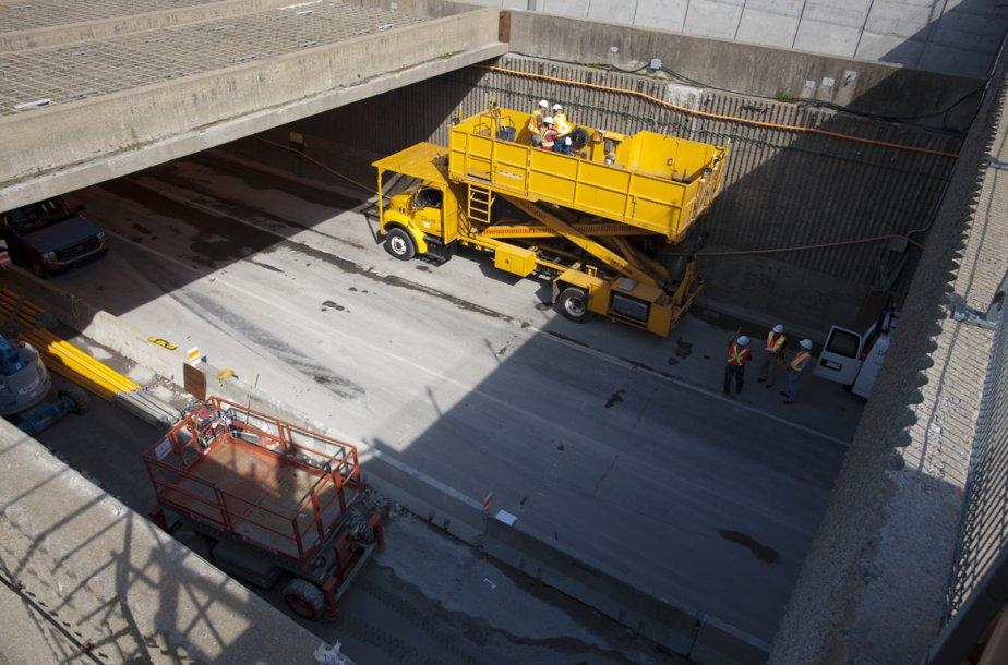 Des travaux sont effectués dans le tunnel Viger... (Photo: André Pichette, La Presse)