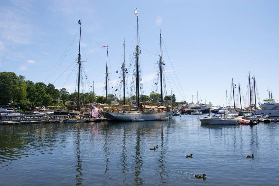 Le port de Camden est rempli à craquer de bateaux de toutes sortes, dont des grands voiliers de bois sur lesquelles il est possible de partir sur des croisières de quelques heures ou de plusieurs jours. (Hugo de Grandpré, La Presse)