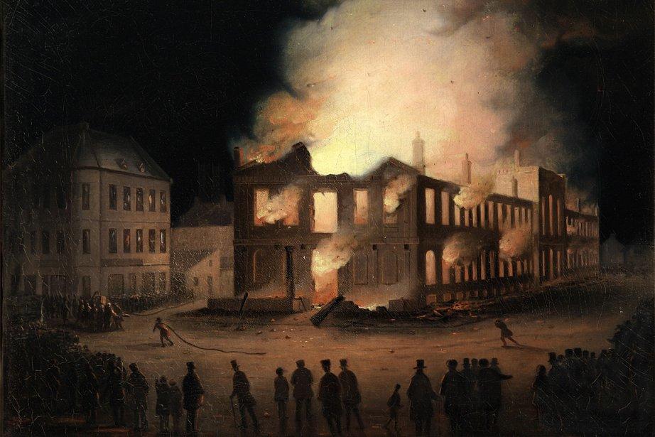 L'incendie du parlement à Montréal, par Joseph Légaré....
