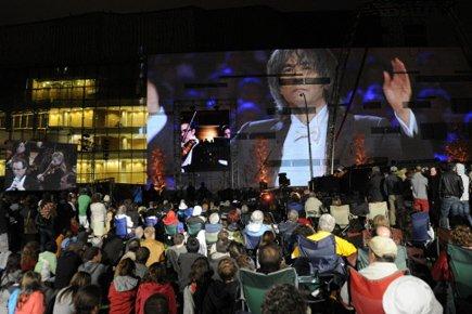 Sur l'écran géant, on pouvait voir, immense, le... (Photo: Bernard Brault, La Presse)