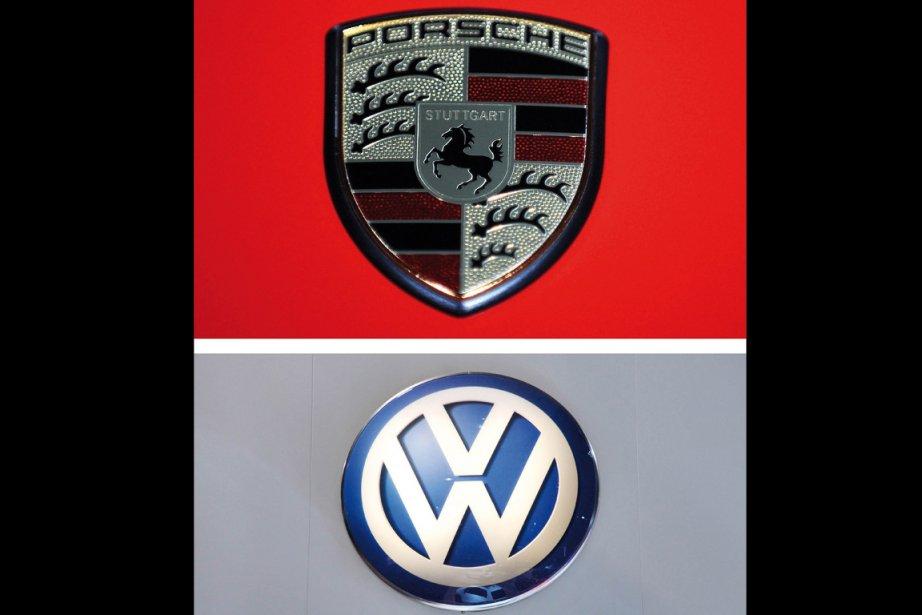 Les symboles des marques Porsche et Volkswagen... (Photo: AFP)
