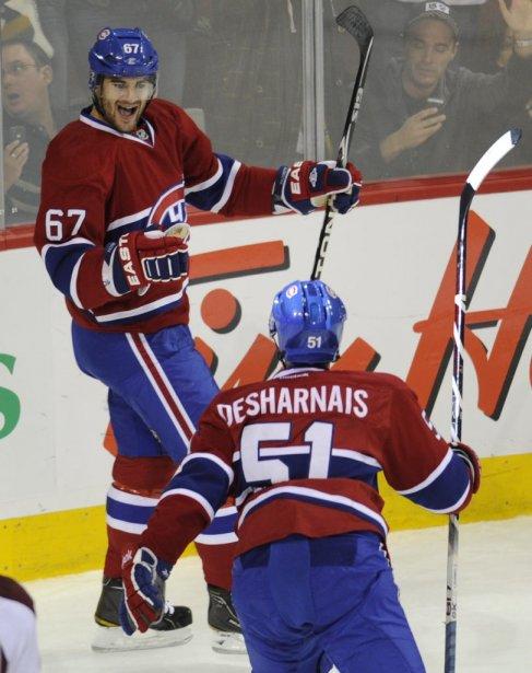 Max Pacioretty et David Desharnais célèbrent le premier but du Canadien. (Bernard Brault, La Presse)