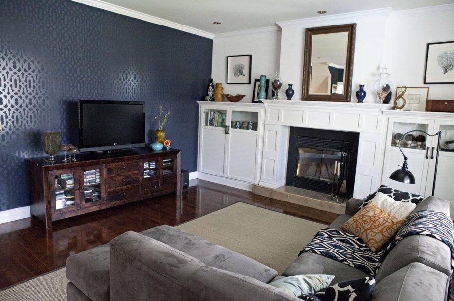 Le mur d'accent du salon est peint d'un... (Photo: Imosca Design)